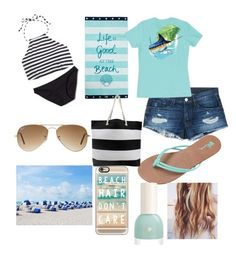 """""""I'm missing the beach"""" by ctrygrl1999 ❤ liked on Polyvore featuring J.Crew, Mossimo, Lexington, 3x1, Guy Harvey, Volcom, Ray-Ban and Casetify"""