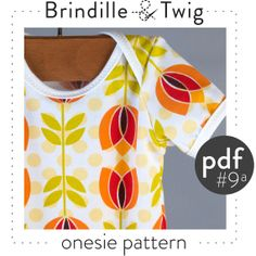 Baby onesie sewing pattern, pdf instant download, sizes 0-3, 3-6, 6-9, 9-12M -Pattern 9a