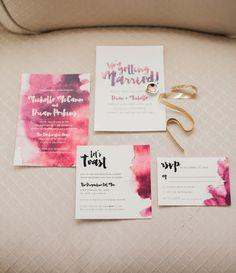 Burgundy, marsala, watercolor wedding invites & stationary!