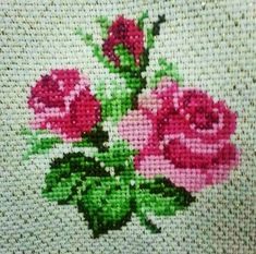 Clay Mosaic - Rose made from cross stitch pattern: Hi, I love doing clay crafts. Tiny Cross Stitch, Cross Stitch Borders, Simple Cross Stitch, Cross Stitch Flowers, Cross Stitch Kits, Cross Stitch Charts, Cross Stitch Designs, Cross Stitching, Cross Stitch Embroidery
