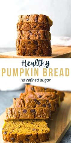 This healthy pumpkin bread is perfectly moist, and loaded with chocolate chips! Made with maple syrup, coconut oil, and whole wheat flour. A healthier treat to enjoy as a snack, dessert, or with your morning cup of coffee. #sweetpeasandsaffron #dessert #pumpkin #bread #healthy #snack Good Healthy Recipes, Low Calorie Recipes, Healthy Treats, Easy Dinner Recipes, Whole Food Recipes, Amazing Recipes, Bakery Recipes, Bread Recipes, Saffron Recipes