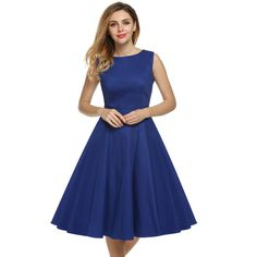 ACEVOG Brand S - 4XL Women Dress Retro Vintage 1950s 60s Rockabilly Floral Swing Summer