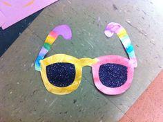 Summer sunglasses craft with black glitter lenses for preschoolers
