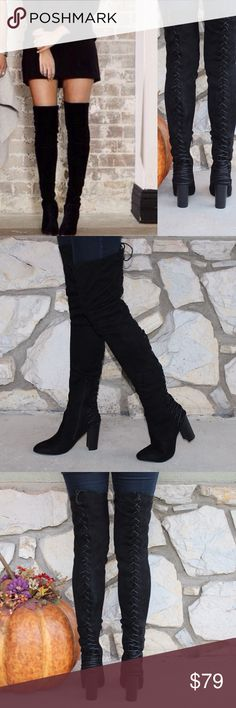 LAST SIZE Stretch Suede Lace Up Thigh High Boots ⛄️JUST ARRIVED!⛄️Upgrade your simple boots for a subtle and flirty new look!⛄️ Brand New in Box ⛄️All vegan materials ⛄️ 3.25 inch heel ⛄️ Boot is 23 inches tall/26.25 inches tall including the heel ⛄️ 🔴Limited Quantities 🔴 Feel free to ask questions! Shoes Over the Knee Boots