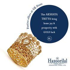 Catch a golden chance to avail unbeatable discounts on gold , diamond and polki jewellery only at #HazoorilalBySandeepNarang #akshaytritiya #HazoorilalOffers #Gold #Diamond #Polki #HazoorilalGK #Hazoorilal