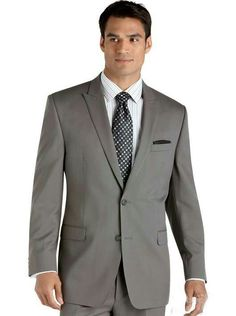 Classic Fit Peak Lapel Two Buttons Grey Groom Suits