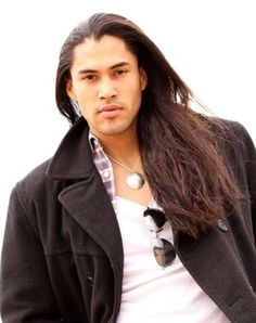 Native American actor/model Martin Sensmeier... Dat hair, much smooth