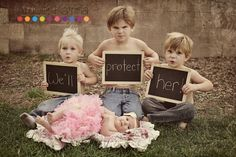 don't mess with her baby photo | don't mess with her big brothers protect newborn baby girl photography