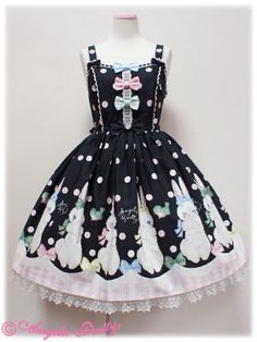 Angelic Pretty marshmallow bunny jumper skirt ribbon