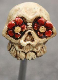 We asked David Lozeau to create a sugar skull shift knob. Viola!
