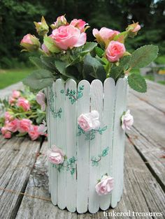 Fresh Look: diy faux fenton hobnail milk glass tinkered treasures: camp tinker: picket fence vase Ice Lolly Stick Crafts, Ice Cream Stick Craft, Popsicle Stick Crafts, Popsicle Sticks, Craft Stick Crafts, Diy And Crafts, Crafts For Kids, Pop Stick, Stick Art
