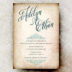 Rustic Wedding Invitation - Beige Teal wedding invitation, shabby chic wedding, Vintage Wedding, Retro Wedding, Printed or Digital on Etsy, $21.00