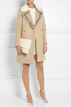 J.Crew | Collection embellished wool-blend coat | Moschino Cheap and Chic | Paneled crepe mini dress | J.Crew | Strappy metallic leather pumps | Stella McCartney | Faux leather clutch