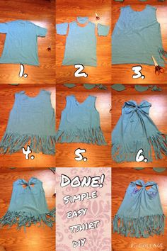 1. Find an old tshirt and scissors. 2. Cut off selves and collar. 3. Cut small slits of desired length at bottom of shirt. 4. Continue cutting around whole shirt. 5. Make a V shaped cut at the back of the shirt. 6. Take a scrap if tshirt, can be cut from the selves of the shirt you no longer need. Tie the back into a knot, and cut away excess. 7. Make any extra cuts to fit your style and Tada you have a new cute tank top to show off!