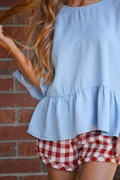 """So cute and so comfy! These gingham shorts boast the season's hottest trend and have a comfortable, functional drawstring waistband. Shorts are lined. Wear them with our """"Ruffled Chambray Top"""" for an extra cute look. Prep Style, My Style, Gingham Shorts, Chambray Top, Dress Summer, Boutique Clothing, Cute Dresses, Preppy, Spring Fashion"""