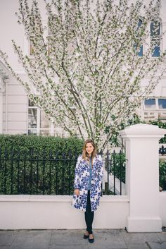 Gal Meets Glam Blue & White Floral Trench by Hobbs, Old Navy  shirt, Joe's jeans, Chanel flats, and Chanel bag.