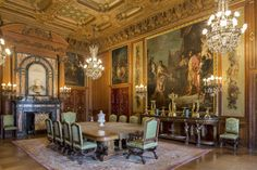 NEWPORT.- This 2012 photo provided by the Preservation Society of Newport County shows the dining room of The Elms mansion in Newport, R.I., which has been restored to its original appearance. A series of early 18th-century Venetian paintings, that were the basis for the room's design, have been reunited for the first time in 50 years. AP Photo/Preservation Society of Newport County, John W. Corbett.