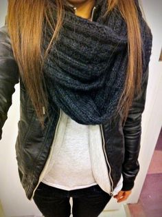 #fall #fashion / black knit scarf
