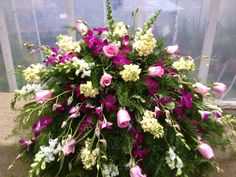 Stunning Funeral Arrangement: Purple Orchid Casket Spray - beautiful floral arrangement inspiration for a funeral service for her. Casket Flowers, Grave Flowers, Cemetery Flowers, Church Flowers, Funeral Flowers, Funeral Floral Arrangements, Large Flower Arrangements, Funeral Caskets, Funeral Sprays
