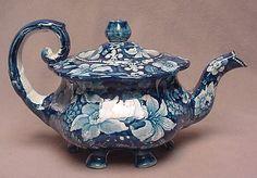 "Antique TEAPOT ~ Historic Blue & White ~ Staffordshire England ~ ""Union"" Mk"