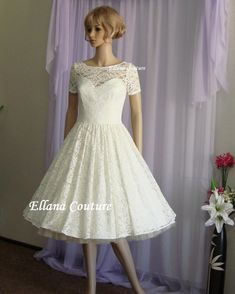 Eve  Vintage Style Lace Wedding Dress. by EllanaCouture on Etsy, $550.00