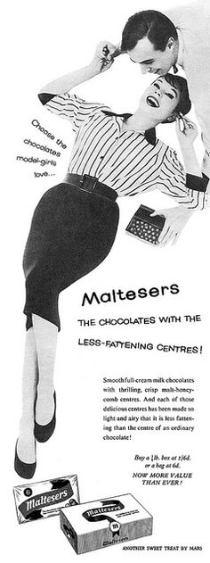 The chocolates with the less-fattening centres! #Maltesers #1950s #vintage #food #ads