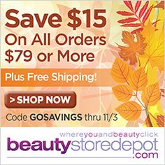 SAVE $15 on orders over $79 plus FREE shipping and FREE samples at beautystoredepot.com! Use code GOSAVINGS thru 11/3.