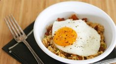 Bacon and eggs meet fried rice