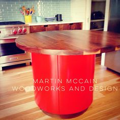 Concentric island with offset Walnut countertop. Walnut Countertop, Countertops, Modern Furniture, New Homes, Woodworking, Island, House, Design, Home Decor