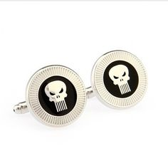 The Punisher Superhero Enamel Men's Cuff Links Punisher, Superhero Cufflinks, Wedding Photographer London, Geek Wedding, Lapel Pins, Black Silver, Badge, Enamel, Geek Stuff