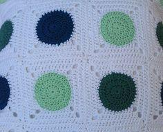 Crochet pillow cover polka dot pillow case granny squares