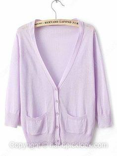 Purple V-neck Three Quarter Length Sleeve Button Knit Top -$20.69