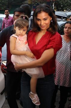 Lara Dutta with daughter Saira at Aaradhya Bachchan's birthday bash. #Bollywood #Fashion #Style #Beauty