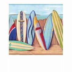Wallpaper Border Bright Surf Boards Surfing on a Tropical Beach