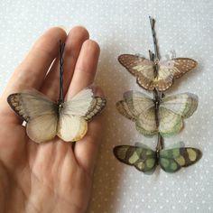 Soft - Mollette per Capelli con Farfalle in Cotone Bio e Organza di Seta Verde, Avorio e Marrone - 4 pezzi by TheButterfliesShop on Etsy