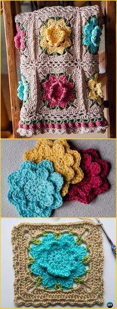 Crochet Rebekah's Flower Afghan Free Pattern - Crochet Flower Blanket Free Patterns