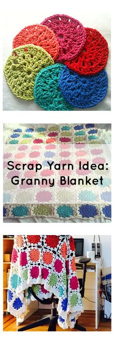 My favorite go to project with leftover yarn is making a granny blanket! - Knitting patterns, knitting designs, knitting for beginners. Yarn Projects, Diy Craft Projects, Knitting Projects, Crochet Projects, Crochet Granny, Crochet Motif, Crochet Yarn, Crochet Blankets, Crochet Afghans