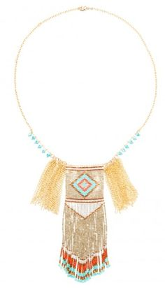 Authentic Hipanema Birdy is anethnic chic beaded bib necklace, Brazilian-inspired.Filled with multiple colored pearls and chain fringe with a handmade American Indian tribaldesign.      sizeunique  great color combination of brown,turquoise, and coral  American Indian woven design  gold plated chain  turquoise charm beads  authentic Hipanemabrand with tags on  gold plated metal/glass  in France, made in China, Brazilian-inspired     Shop this product here: spree.to/wzu…