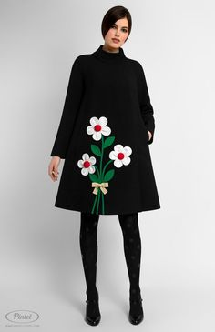 Long sleeve A-shape genuine wool coat. Decorated with designer handmade true-wool and cotton flowers. Back box pleat. On the photo: model is wearing a size S and is 176 cm. Simple Dresses, Beautiful Dresses, Short Dresses, Girls Dresses, Doll Style, Fashion Art, Womens Fashion, Fashion Design, Plus Size Clothing