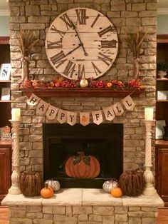 Fall Decorations for the Fireplace! We already have a clock like this, I love fall !