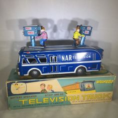 Vintage LINEMAR Battery Operated Television Truck Mint In Box - ALL Tin. Working #LinemarLouisMarxToyCompany
