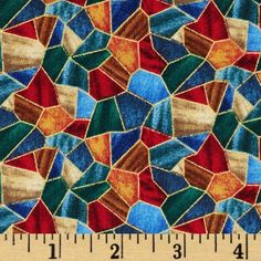 First Noel Nativity Stained Glass Metallic Royal from @fabricdotcom  Designed by Liz Goodrick-Dillon for Quilting Treasures, this cotton print fabric is perfect for quilting, crafts and home décor accents. Colors include deep red, royal, jade, tan and brown.  Features gold metallic accents throughout.