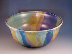 Beautiful Large Bowl Multiple Colors Of Green Purple by potmaker