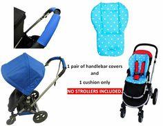 Pink Blue Polka Dot Cushion Pad Handlebar Covers Protect For Delta Baby Stroller  - Pram Stroller #PramStroller Pram Stroller, Baby Strollers, Blue Polka Dots, Pink Blue, Cushion Pads, Cushions, Baby Prams, Throw Pillows, Pram Sets