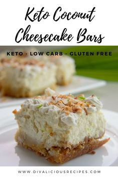 This keto coconut cheesecake is for coconut lovers, as well as cheesecake fans. The low carb cheesecake is so light and fluffy that you will find it hard to eat only one piece keto cheesecake lowcarb glutenfree sugarfree lowcarbdessert 649010996285866495 Cheesecake Leger, Coconut Cheesecake, Low Carb Cheesecake, Cheesecake Bars, Cheesecake Recipes, Dessert Recipes, Coconut Bars, Strawberry Cheesecake, Diabetic Cheesecake