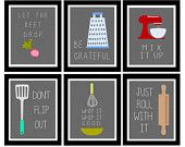 Colorful Set of Six Kitchen Art Digital by LeslieLovePrints