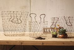 Wire Shopping Baskets, Set of 3    $30.75@http://antiquefarmhouse.com/current-sale-events/recycled-upcycled-junk2.html