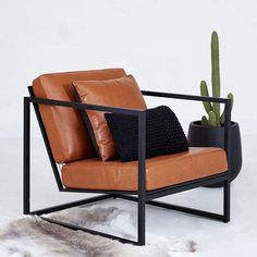 ➕Our new Stanley Italian leather armchair in store today. We are open till 4pm stop by and meet him! #furniture #urbancouturedesigns #interiordesign #furnituredesign