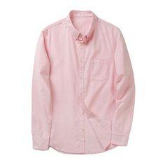 New Spring Cotton Oxford Men Shirts Men's Long Sleeve Casual Buckle Collar Shirt Men's Shirt