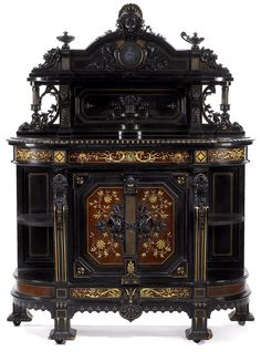 "highvictoriana: ""An American Renaissance Revival parcel-gilt, carved and ebonized cabinet. Herter Brothers, New York, c. "" Furniture from Gondor Victorian Furniture, Old Furniture, Furniture Styles, Unique Furniture, Rustic Furniture, Vintage Furniture, Furniture Decor, Painted Furniture, Furniture Design"
